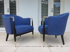 Pair Of Brass And Upholstered Wood Frame Lounge Chairs by FLORIDAMODERN on Etsy