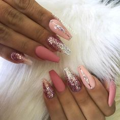 Pretty Pink Nail Design for Coffin Balle. Pretty Pink Nail Design for Coffin Ballerina Nails Pink Nails, Glitter Nails, Pink Stiletto Nails, Pink Glitter, Cute Nails, Pretty Nails, Hair And Nails, My Nails, Pink Nail Designs