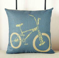 18 Cotton linen Nostalgic bike decorate  pillow case/ Pillow Cover / Sofa Cushion case via Etsy