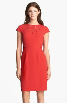 Adrianna Papell Cutout Neck Crepe Sheath Dress (Regular & Petite) available at #Nordstrom