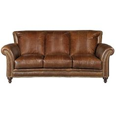Clic Traditional Brown Leather Sofa Butler