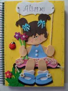 Caderno decorado Foam Crafts, Diy And Crafts, Arts And Crafts, Paper Crafts, Paper Dolls, Art Dolls, Quilting Projects, Craft Projects, Quiet Book Patterns
