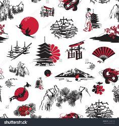 Simbolos Tattoo 83503 Vecteur : seamless background with Japanese miniatures Japanese Drawings, Japanese Tattoo Art, Japanese Tattoo Designs, Japanese Sleeve Tattoos, Japan Tattoo, Simbolos Tattoo, Tattoo Drawings, Tattoo Forearm, Japan Illustration