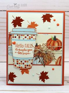 I used the Merry Cafe stamp set to create a fun fall card to share with you for today. This set coordinates with the Coffee Cups Framelits Dies, don't you just love that? I also like the fact that Mer
