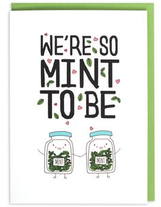 We're So Mint To Be Greeting Card - part of an herb pun collection from Humdrum Paper