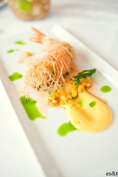 Kataifi Wrapped King Prawn, Sweet Corn and Basil