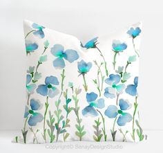 Aquarelle original design in blue and green colours -linen/cotton Pillow Cover with invisible zipper. Available Diy Pillows, Toss Pillows, Decorative Throw Pillows, Cushions, Floral Throw Pillows, Hand Painted Dress, Floral Throws, Watercolor Design, Cotton Pillow