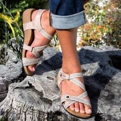 A wonderfully comfortable and supportive sandal with three point adjustability, enhanced arch support and cork/PU footbed. Gladiator Sandals, Wedge Sandals, Supportive Sandals, Sensible Shoes, Hammer Toe, Birkenstock Mayari, Comfortable Sandals, Ankle Straps, Slippers