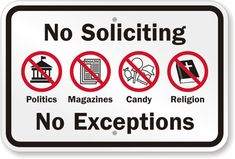 No Soliciting, No Exceptions...Free Download to Print.