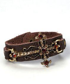 Loving this Brown & Topaz Leather Cross Bracelet on #zulily! #zulilyfinds