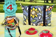 Zippered Picnic Tote with Lots o' Pockets Inside & Out | Sew4Home
