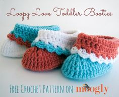 Loopy Love Toddler Booties! - Moogly ~ free pattern, thanks so xox  ☆ ★  https://www.pinterest.com/peacefuldoves/