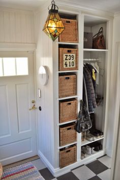 180 best garage & entryway images in 2019 Small Rooms, Small Hallways, Garage Entryway, Entry Closet, Hallway Storage, Hallway Cupboards, Hallway Coat Rack, Craftsman Lighting, Mudroom Laundry Room
