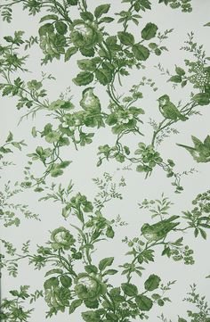 Isabelle Floral Toile Wallpaper A floral toile wallpaper featuring birds perched in flowing rose branches. In green on white.