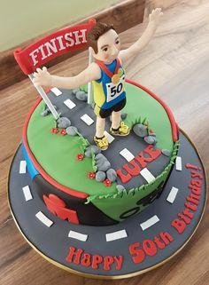 Mens 50th birthday cake ironman swim bike cycle run road finish line sign man medal runner Sports Birthday Cakes, 50th Birthday Cakes For Men, 40th Cake, Hubby Birthday, Bicycle Cake, Bike Cakes, Running Cake, Ironman Cake, Retirement Cakes