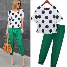 Two Piece Outfits Pants, Two Piece Dress, Classy Outfits, Casual Outfits, Fashion Outfits, Fashion Women, Green Pants Fashion, Polka Dot T Shirts, Pants For Women