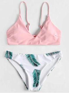New Leaf Print Padded Bikini Set