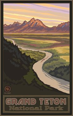 Northwest Art Mall Teton National Park Snake River Overlook Artwork by Paul A Lanquist, 11-Inch by 17-Inch
