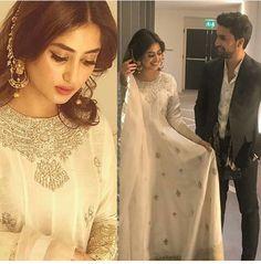 Sajal ali and ahad raza mir Pakistani Bridal Wear, Pakistani Wedding Dresses, Pakistani Dress Design, Pakistani Outfits, Stylish Dresses For Girls, Dresses Kids Girl, Max Dresses, Wedding Lehnga, Nikkah Dress