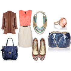 Love the coral and navy together...this could be carried from spring to fall!