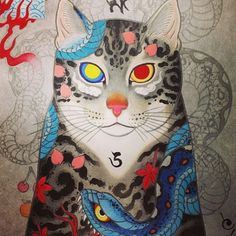 Painting by Horitomo. @horitomo_stateofgrace @stateofgracetattoo #horitomo #stateofgrace #tattooculturemagazinw #tcm #followtcm #painting #cat #snake #tattoo #tattoos #art #nofilter