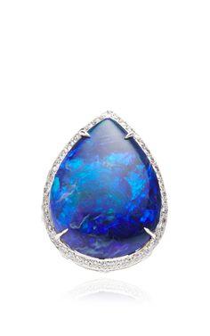 Pear Shape Black Opal Ring by Gioia for Preorder on Moda Operandi