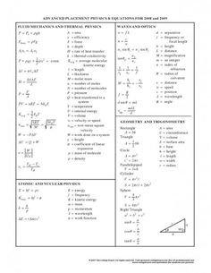 Physics: Equations 2