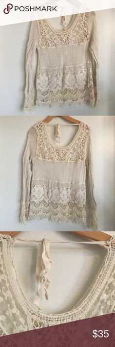 White crochet/lace blouse Crochet and lace top.  Minor flaw as shown. Urban Outfitters Tops Tees - Long Sleeve