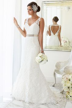 For brides looking for that figure-flattering wedding dress, Essense of Australia has created this fit-and-flare wedding dress with Lace over Lavish Satin.