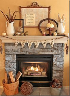 Decorating for the fall season? Here's 15 of our favourite ways to deck out a fireplace mantle for fall. From rustic to modern, here's how to warm your home Fall Mantel Decorations, Thanksgiving Decorations, Seasonal Decor, Holiday Decor, Mantel Ideas, Thanksgiving Mantle, Thanksgiving Sayings, Autumn Mantel, Fall Mantels