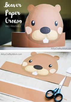 Create your own Beaver Paper Crown for National Beaver Day. Enjoy when studying beavers, for National Beaver Day or perhaps for Canada Day too. Free Printable PDF in full color & another with an option to color in. Beaver Costume, Canada Day Crafts, Le Castor, Canada Day Party, Beaver Hat, Beaver Scouts, Paper Toy, Paper Crowns, Animal Crafts For Kids