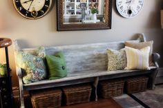 LOVE using old church pews in the home. And the baskets underneath are so neat.
