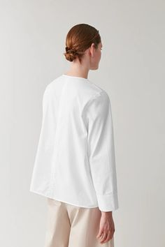 PLEATED COTTON TOP - white - Tops - COS White Shirts Women, I Love Fashion, White Tops, Bell Sleeve Top, Women Wear, Tunic Tops, Pure Products, Cos, Model
