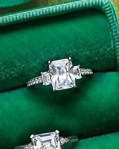 Emerald-Cut Diamond Engagement Ring I want a yellow diamond solitaire. Beautiful!