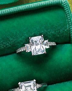Emerald-Cut Diamond Engagement Ring. I want!