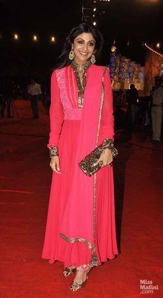 Shilpa Shetty in a Manish Malhotra anarkali. Indian celeb fashion.