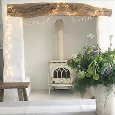 Lilacs in jug Rustic Fireplace Decor, Rustic Fireplaces, My Ideal Home, Love Your Home, Modern Country Style, Scandi Style, Country Charm, Coastal Style, Interior Styling