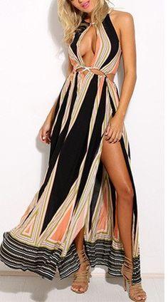 Halter geometic print summer dress
