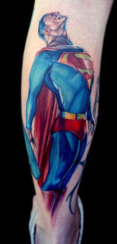 Up up and away! #inked #inkedmag #tattoo #superman #hero #colorful