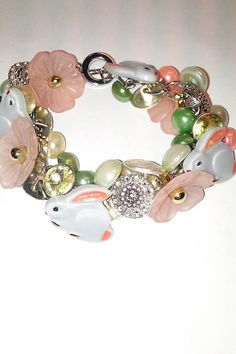 Vintage Button Bracelet Featuring Spring by bluehoneyjewelry, $52.00