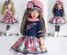 DRESS,SWEATER,HAT&BOOTS SET MADE FOR KAYE WIGGS MEI MEI,LARYSSA&SAME SIZE DOLL