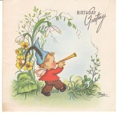 Vintage Birthday Card Boy with Horn Eva Harta for Crestwick