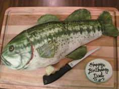 IT'S CAKE!  Large mouth bass cake!  100% edible!  German chocolate cake covered in fondant and handpainted.