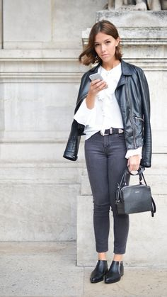 You can't go wrong with black skinny jeans and a leather jacket thrown over a chic white blouse like this. The pointed ankle boots complete this street-style look that's perfect for work too; see similar ideas at www.redonline.co.uk.