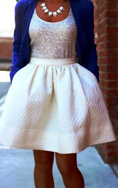 Navy Blazer + Sequin Blouse and Textured Skirt