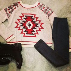 Tribal sweater and combat boots