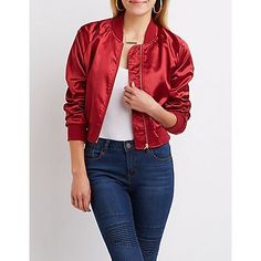 Red Satin Cropped Bomber Jacket - Size XS