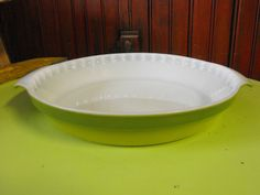 Vintage Fire King - RARE 2 Tone Green Pie Plate Fluted