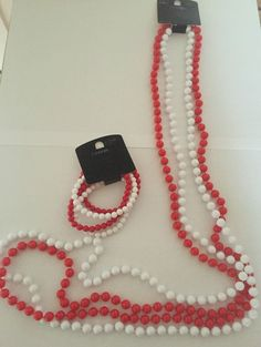 Red/White Bead Necklace&Bracelet Set