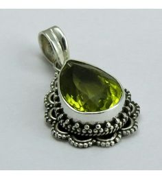 Fashion Design !! Lemon Topaz 925 Sterling Silver Pendant, Weight: 5.7 g, Stone - Lemon Topaz, Size - 3.3 x 1.8 cm, Wholesale Orders Acceptable, All Pieces have 925 Stamp